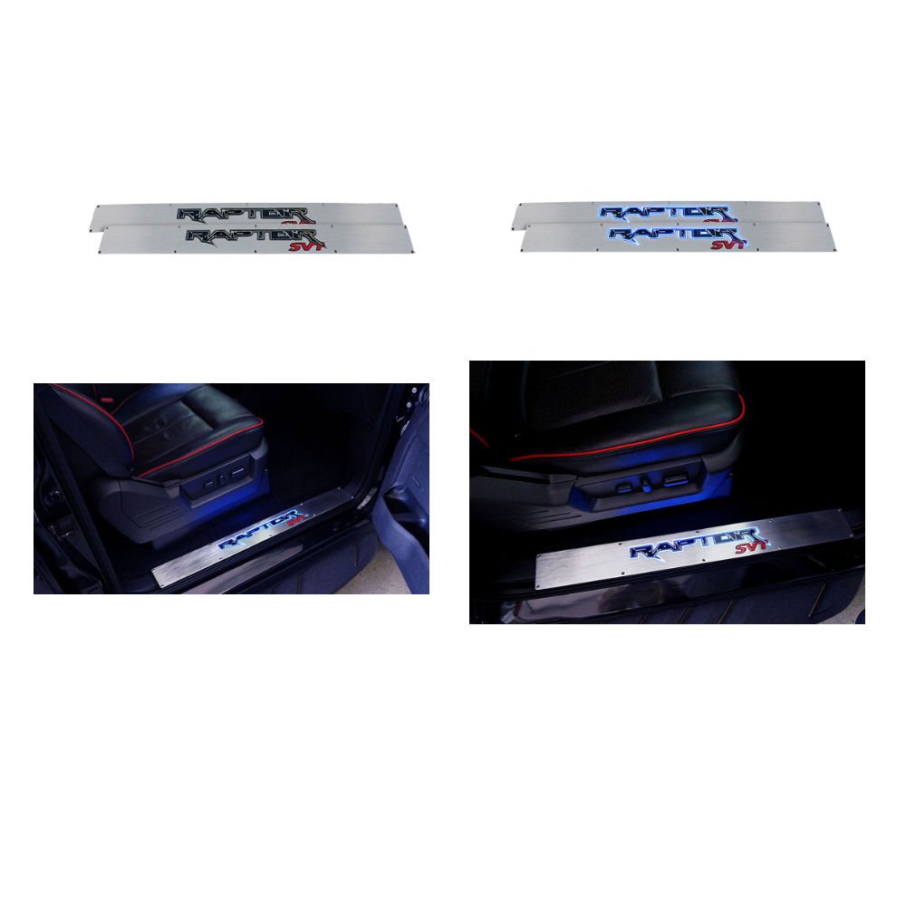 RECON FORD F150 ILLUMINATED DOOR SILLS IN BRUSHED ALUMINUM w// BLUE LIGHTS 09-14